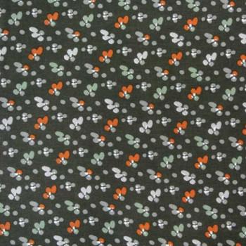 Tissu cretonne noir imprimé fleuri oekotex 150 cm