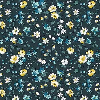 Tissu coton bleu pétrole liberty oekotex 160 cm