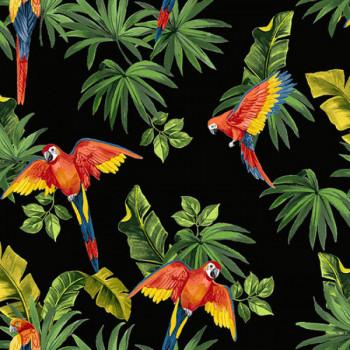Tissu cretonne noir imprimé perroquet oekotex 160 cm