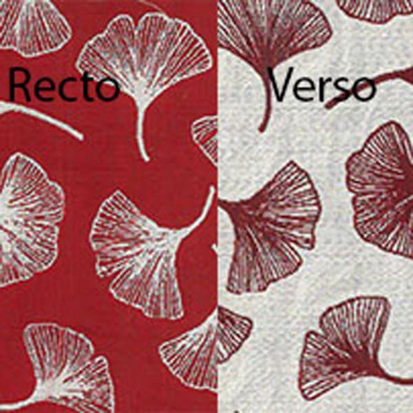 Tissu jacquard rouge imprimé feuille...