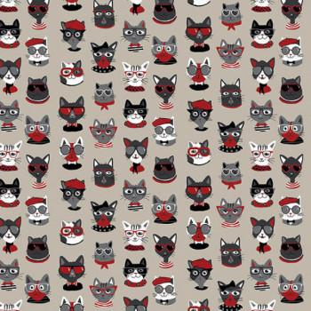 Tissu effet lin imprimé chat noir et rouge 140 cm