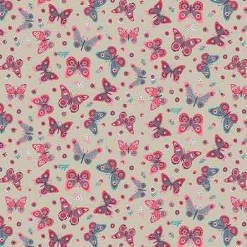 Tissu effet lin rose imprimé papillon 140 cm