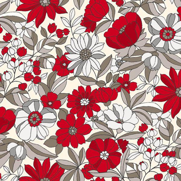 Tissu cretonne fleur rouge et blanc...