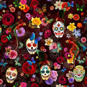 Tissu velours imprimé tête de mort multicolor 140 cm