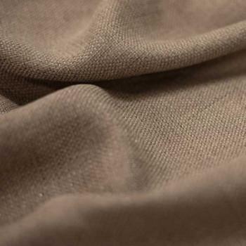 Tissu toile effet chiné occultant marron mocha 140 cm
