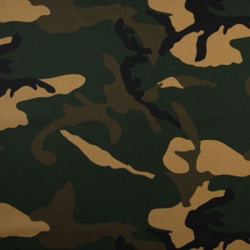 Tissu popeline imprimé camouflage kaki oekotex 150 cm