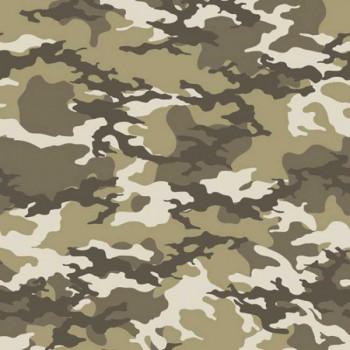 Tissu coton imprimé camouflage kaki beige oekotex 150 cm