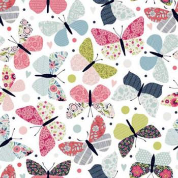 Tissu coton imprimé papillon rose oekotex 150 cm