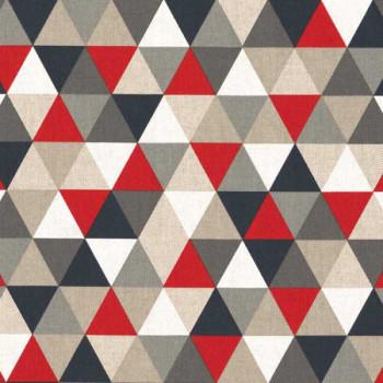 Tissu bachette imprimé géométrique rouge oekotex 140 cm