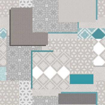 Sous-nappe imprimé patchwork bleu et gris 140 cm