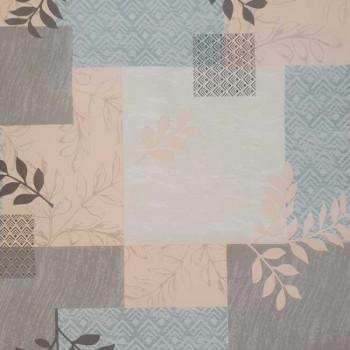 Toile cirée imprimé patchwork rose et bleu 140 cm