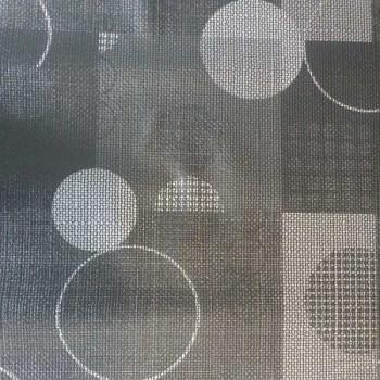 Toile cirée imprimé géométrique gris et blanc 140 cm