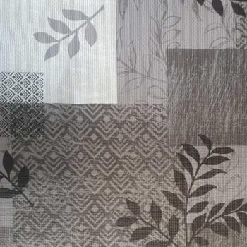 Toile cirée imprimé patchwork gris et blanc 140 cm