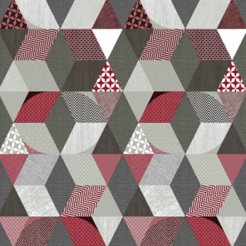 Toile cirée imprimé géométrique gris rouge 140 cm