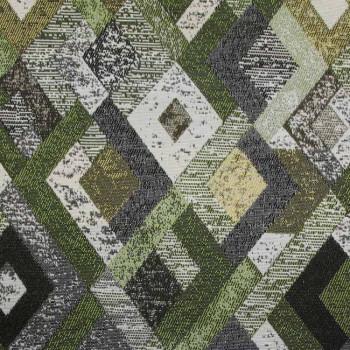 Tissu jacquard vert motif losanges 140 cm