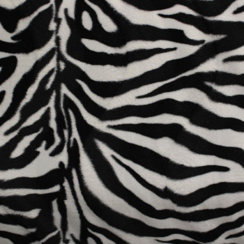 Tissu peau de bête zèbre blanc noir 150 cm