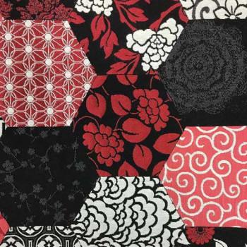 Tissu jacquard noir et rouge 140 cm