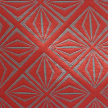 Tissu matelassé géométrique gris rouge 280 cm
