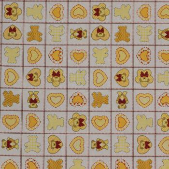 Tissu Percale Teddy Bears jaune 150 cm
