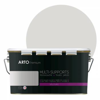 Peinture arto premium multi - supports murs, plafonds, boiseries, plinthes et radiateurs gris clair velours 2,5 L