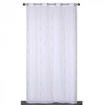 Rideau en voilage tissé blanc à poids