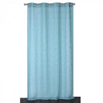 Rideau en voilage étamine bleu à rayures blanches