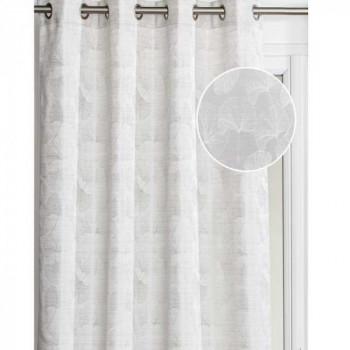 Rideau tissu blanc feuille de ginkgo
