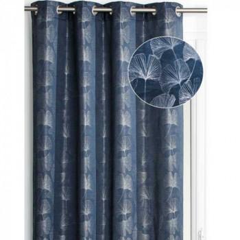 Rideau tissu bleu pétrolee feuille de ginkgo
