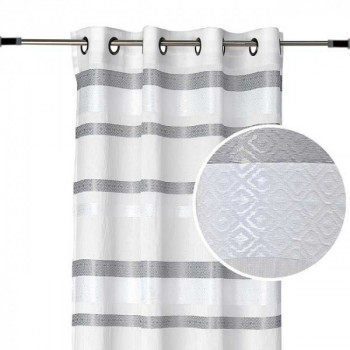 Rideau tissu blanc à rayures