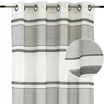 Rideau tissu jacquard gris à rayures