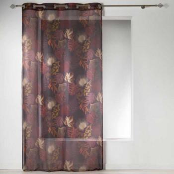 Rideau en voilage motif floral prune
