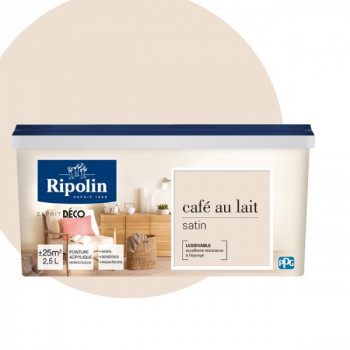 Peinture Ripolin Esprit Déco Murs, plafonds, boiseries et radiateurs café au lait satin 2,5L