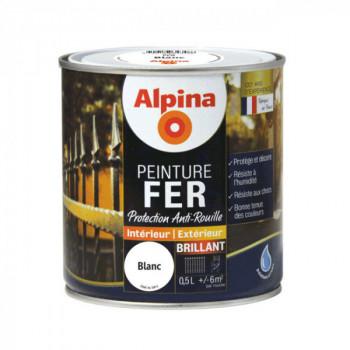 Peinture alpina antirouille spéciale fer blanc brillant 0,5L