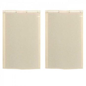 Paire de vitrage droit étamine aspect lin beige 60 x 160 cm