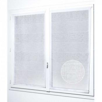 Paire de vitrage plombé étamine pailletté-fil lurex blanc 45 x 140 cm