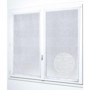 Paire de vitrage plombé étamine pailletté-fil lurex blanc 60 x 140 cm