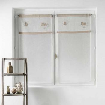 Paire de vitrage droit voile sablé brodé hibou beige 60 x 120 cm