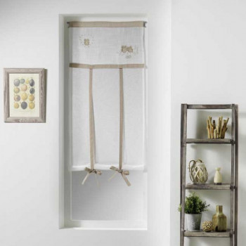 Vitrage relevable voile sablé brodé hibou beige 60 x 150 cm