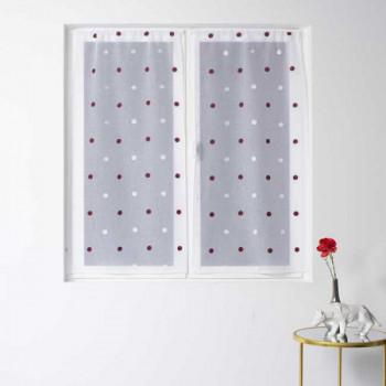 Paire de vitrage droit blanc voile tissé brodé pois 60 x 120 cm