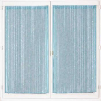 Paire de vitrage droit étamine pailleté-fil lurex bleu 60 x 120 cm
