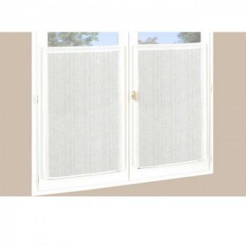 Paire de vitrage droit étamine pailleté-fil lurex blanc 60 x 90 cm