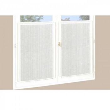 Paire de vitrage droit étamine pailleté-fil lurex blanc 60 x 120 cm
