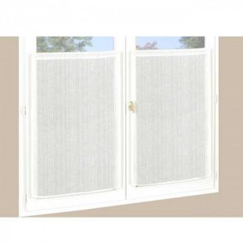 Paire de vitrage droit étamine pailleté-fil lurex blanc 60 x 160 cm
