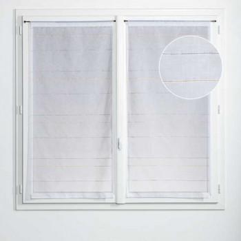 Paire de vitrage plombé étamine rayures blanc jaune 45 x 140 cm