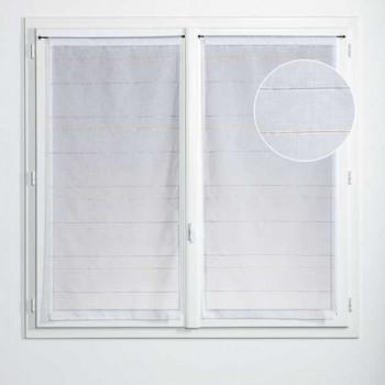 Paire de vitrage plombé étamine rayures blanc jaune 58 x 140 cm