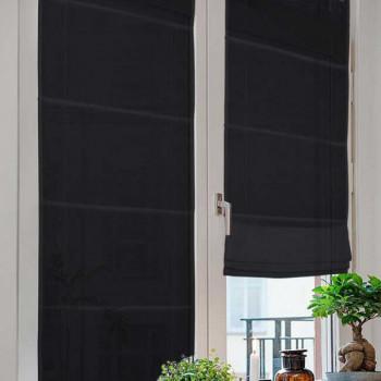 Vitrage Neo toile noir relevable occultant 60 x 180 cm