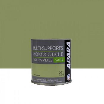 Peinture Apara multi-supports  Murs, plafonds, boiseries, plinthes...  vert olivier satin 0,5L