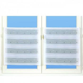 Vitrage organza fil lurex-paillettes vague gris 58 cm