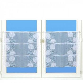 Vitrage maille motif végétal blanc 60 cm