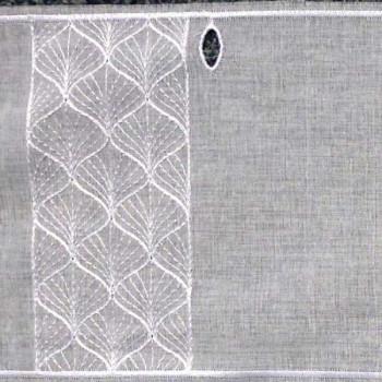 Vitrage voile brodé géométrique blanc 45 cm